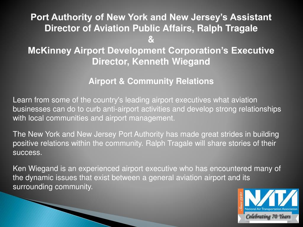 Port Authority of New York and New Jersey's Assistant Director of Aviation Public Affairs, Ralph Tragale