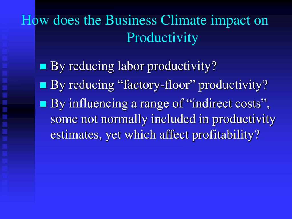 How does the Business Climate impact on Productivity