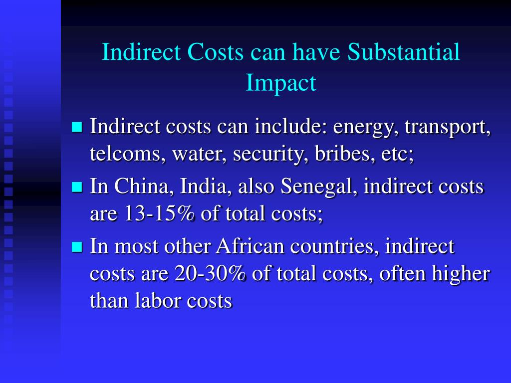 Indirect Costs can have Substantial Impact