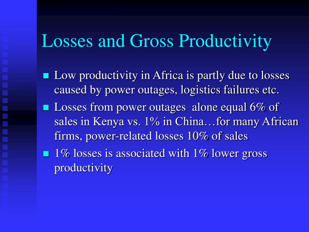 Losses and Gross Productivity