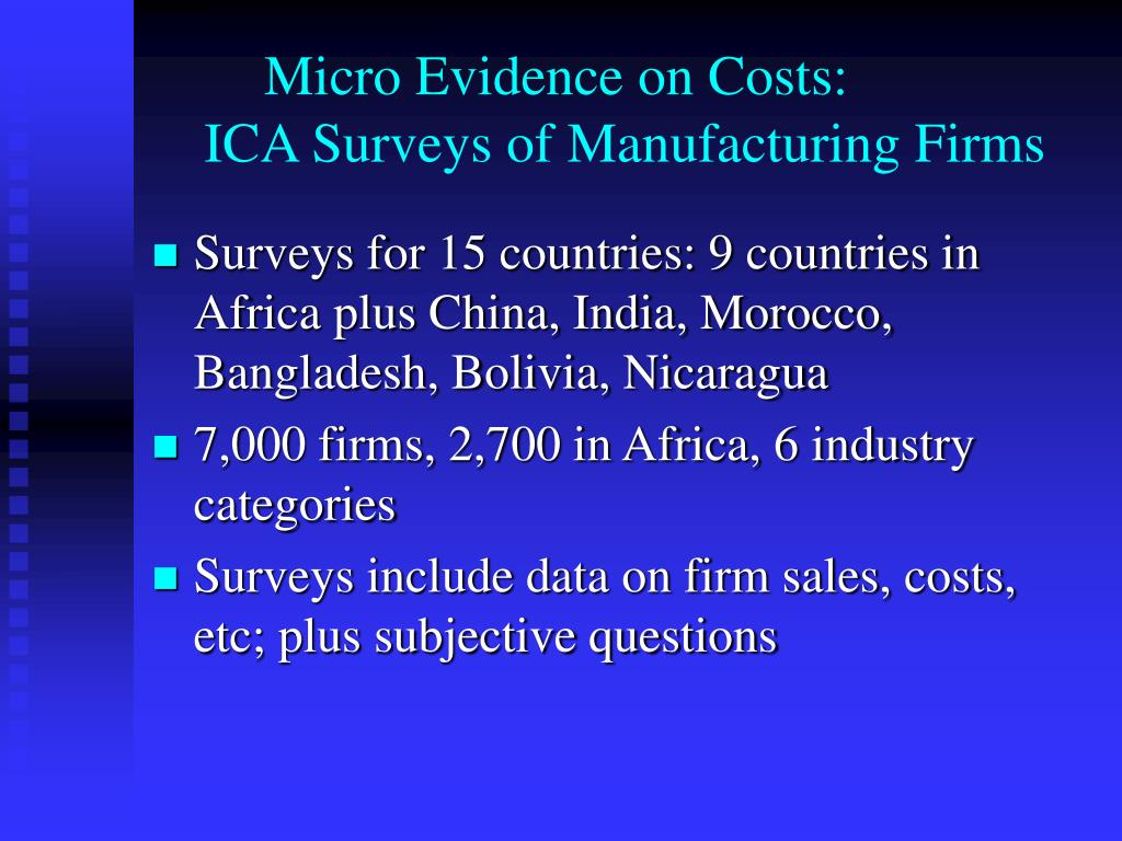 Micro Evidence on Costs: