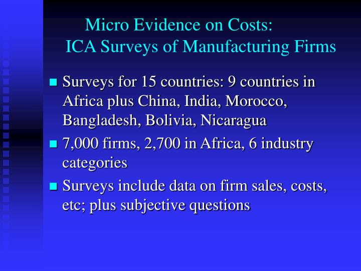 Micro evidence on costs ica surveys of manufacturing firms