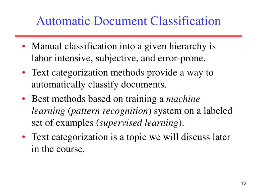 Automatic Document Classification