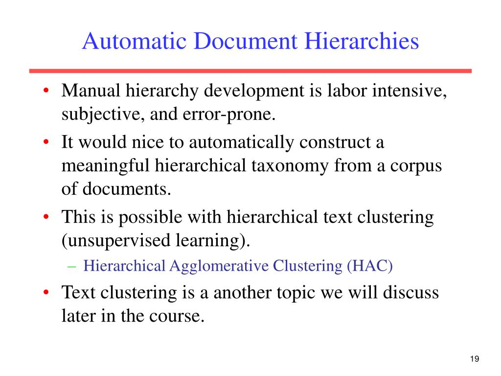 Automatic Document Hierarchies