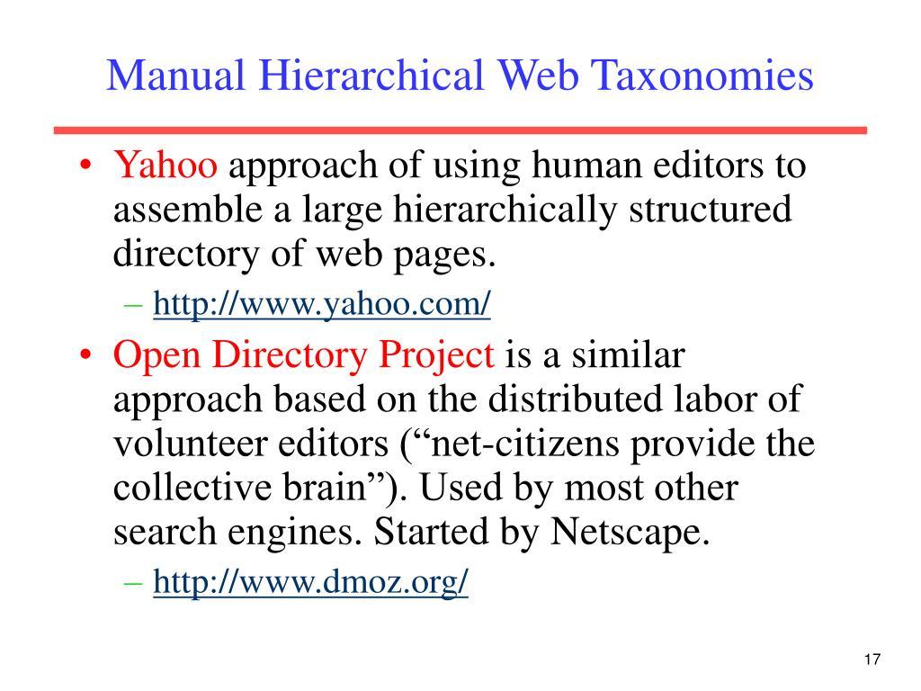 Manual Hierarchical Web Taxonomies