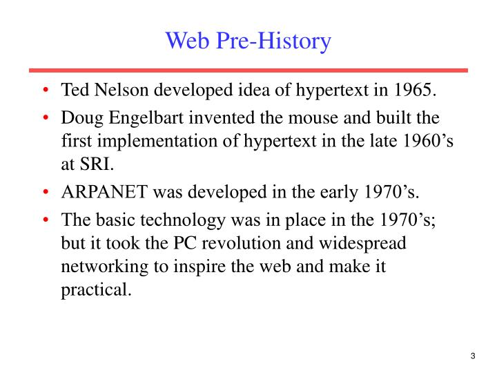 Web pre history