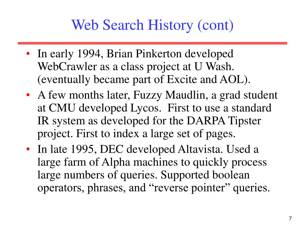 Web Search History (cont)