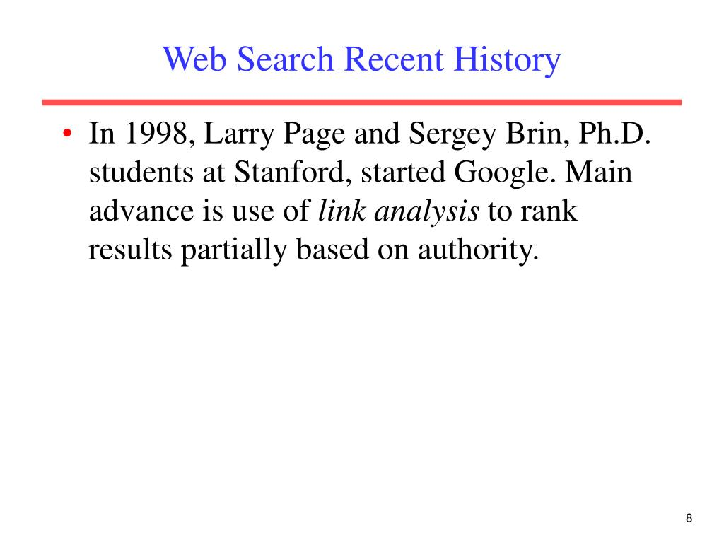 Web Search Recent History