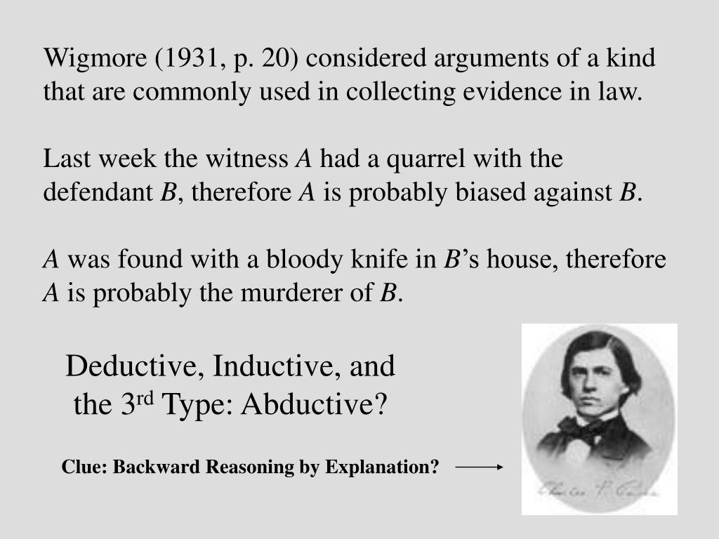 Wigmore (1931, p. 20) considered arguments of a kind that are commonly used in collecting evidence in law.
