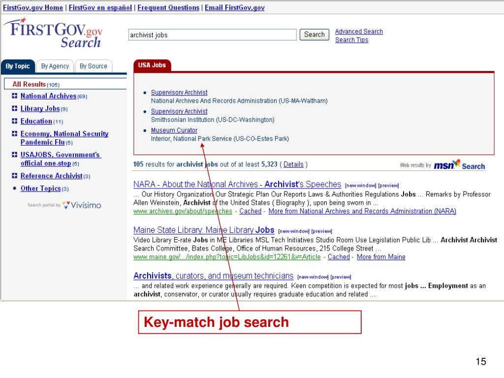 Key-match job search