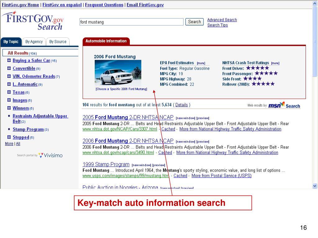 Key-match auto information search