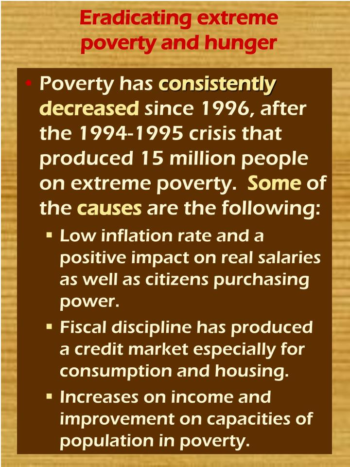 Eradicating extreme poverty and hunger