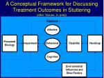 a conceptual framework for discussing treatment outcomes in stuttering after yaruss in prep