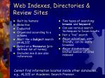 web indexes directories review sites