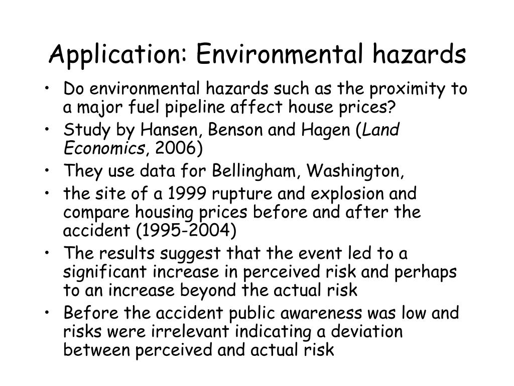 Application: Environmental hazards
