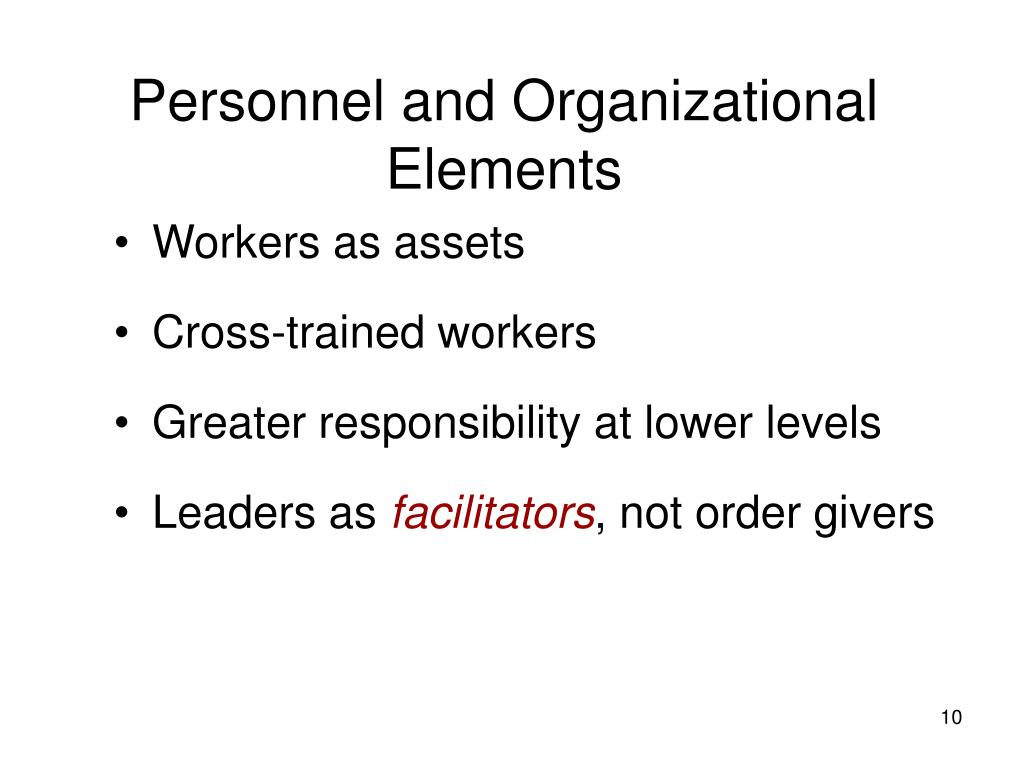 Personnel and Organizational Elements