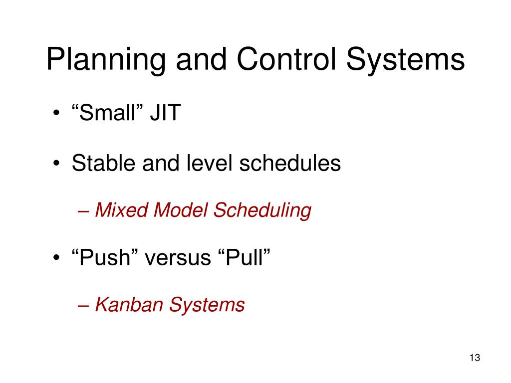 Planning and Control Systems
