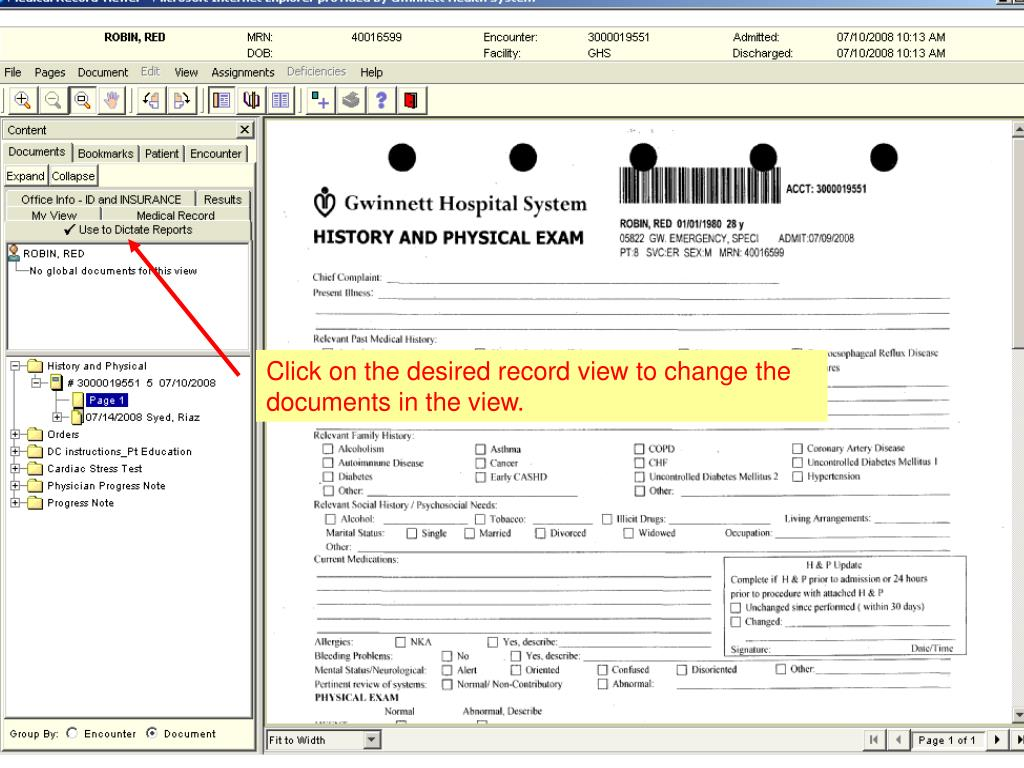Click on the desired record view to change the documents in the view.