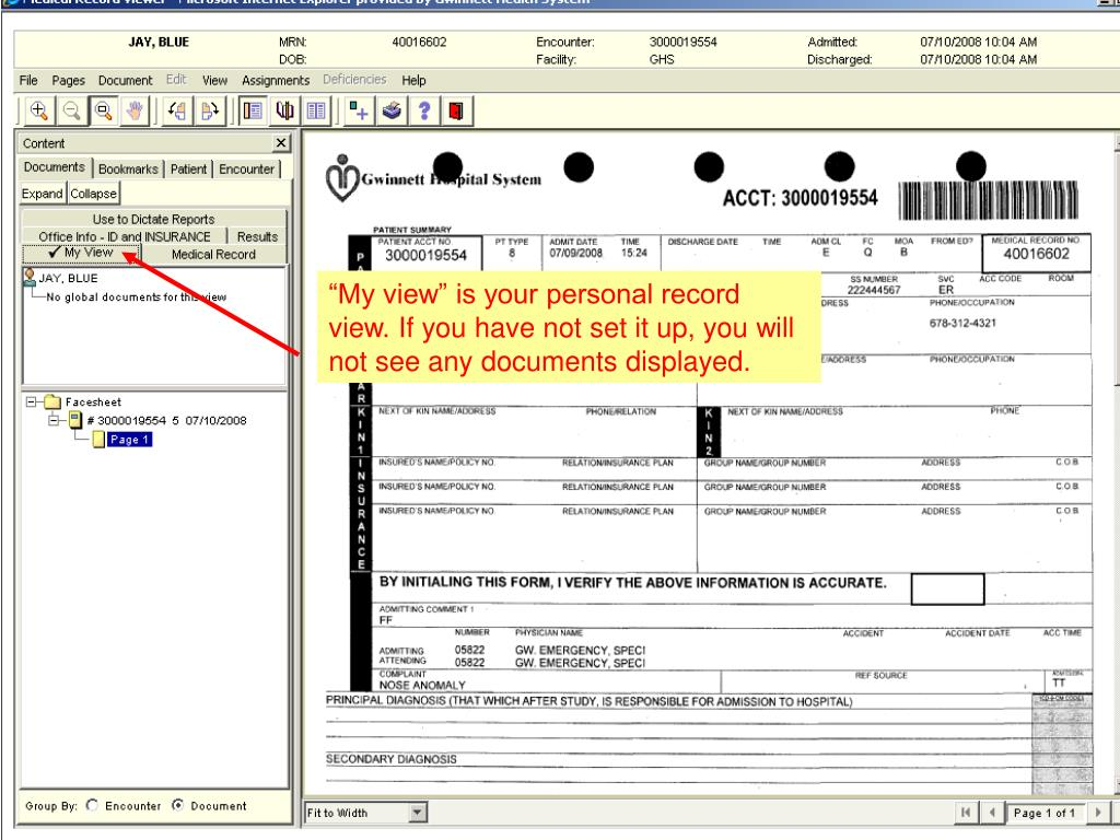 """""""My view"""" is your personal record view. If you have not set it up, you will not see any documents displayed."""