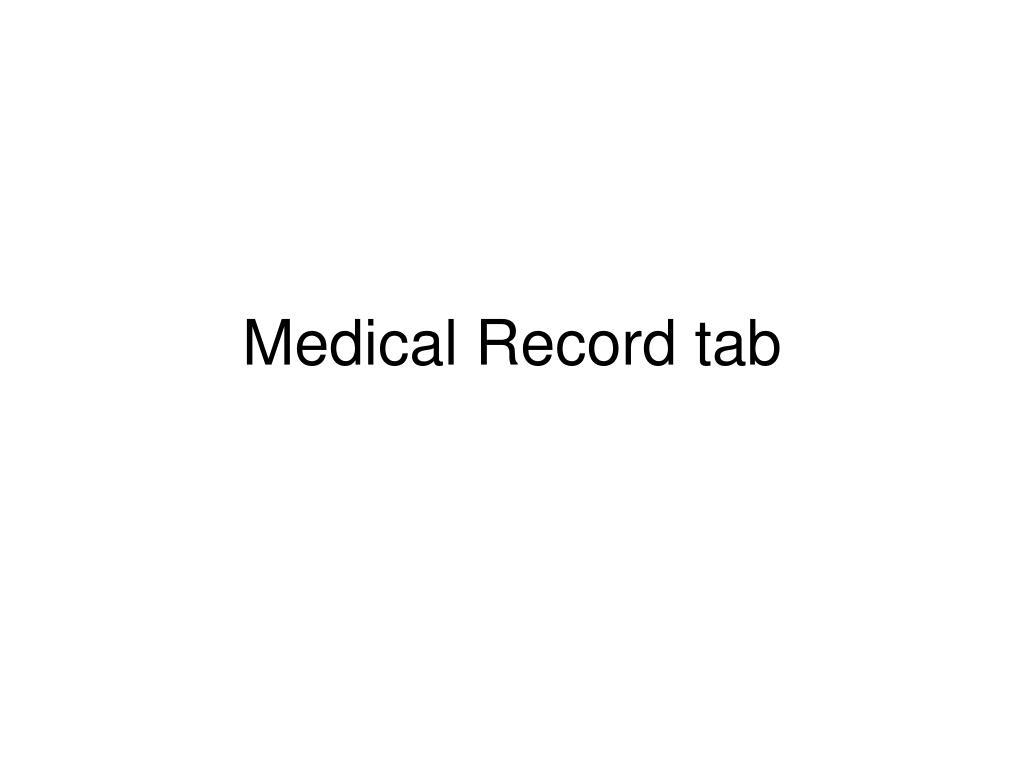 Medical Record tab