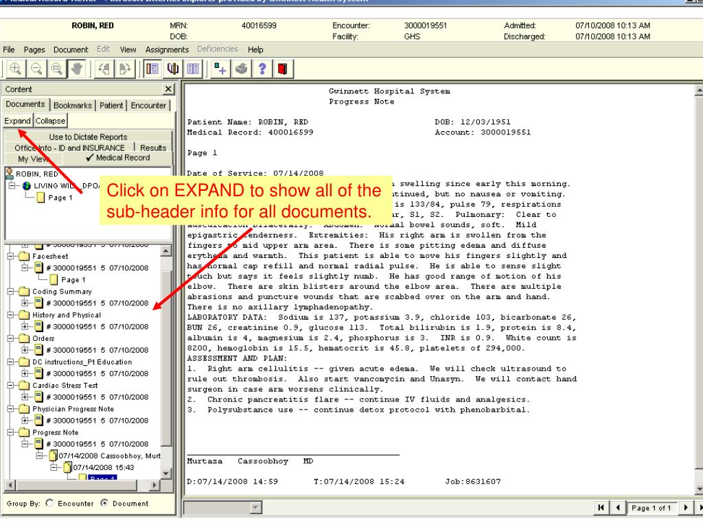 Click on EXPAND to show all of the sub-header info for all documents.