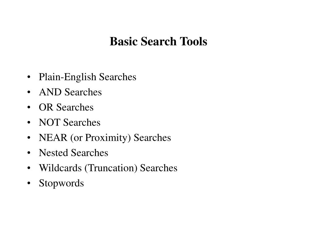 basic search tools l.