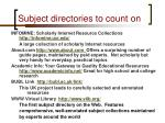 subject directories to count on