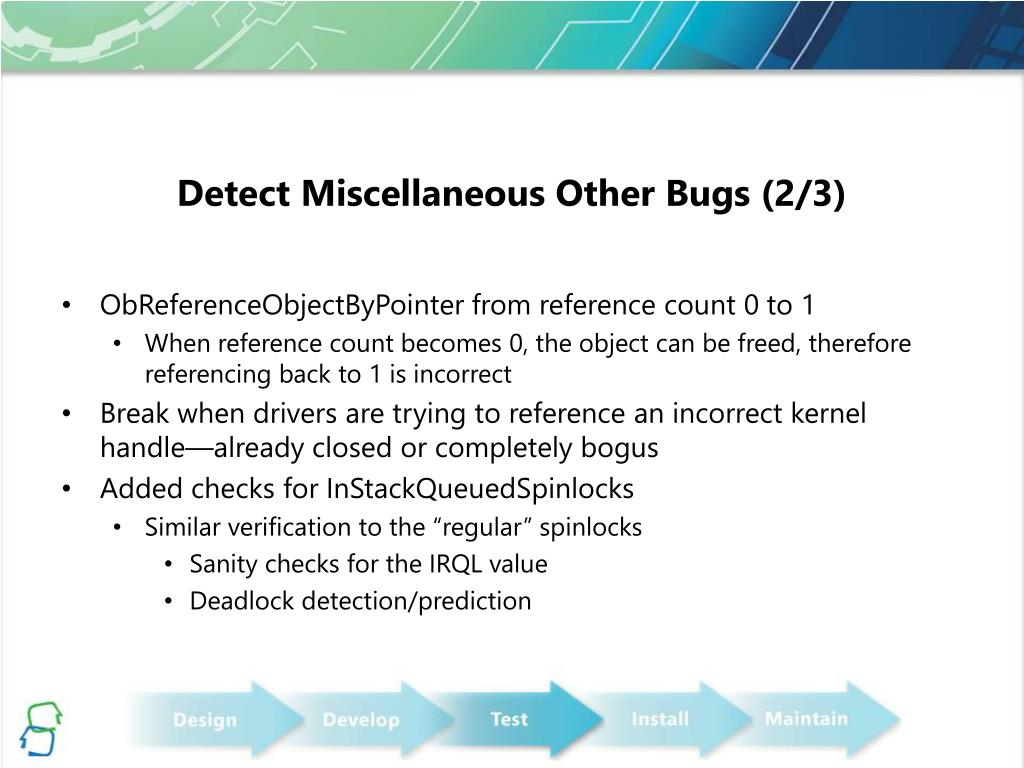 Detect Miscellaneous Other Bugs (2/3)