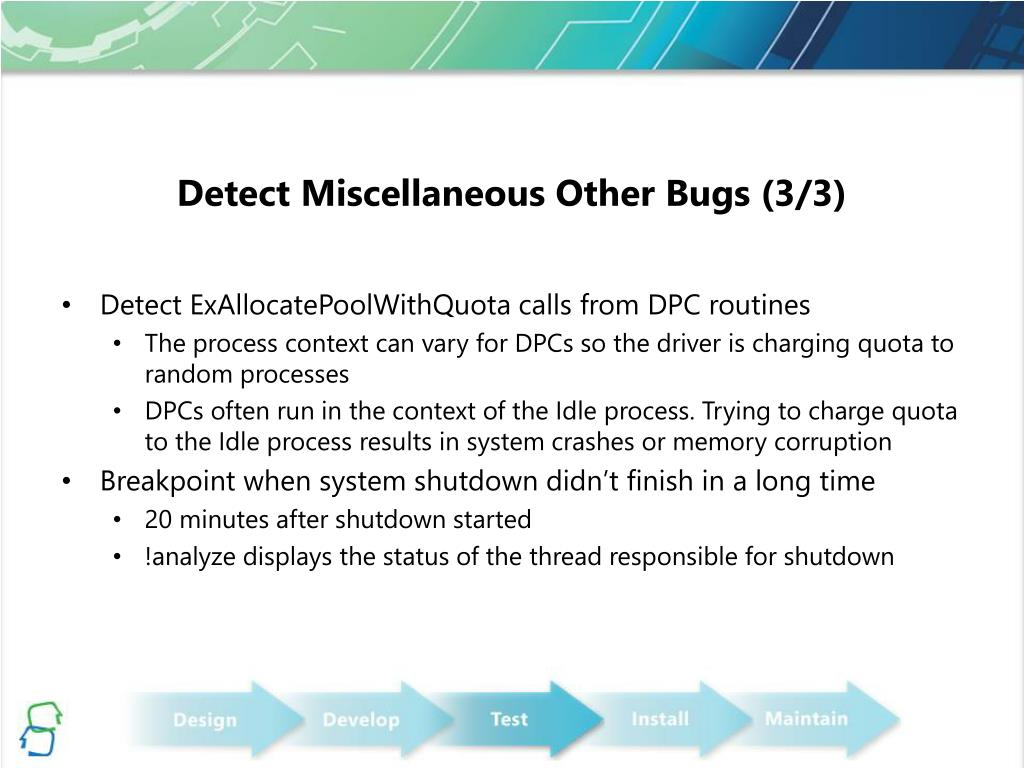 Detect Miscellaneous Other Bugs (3/3)