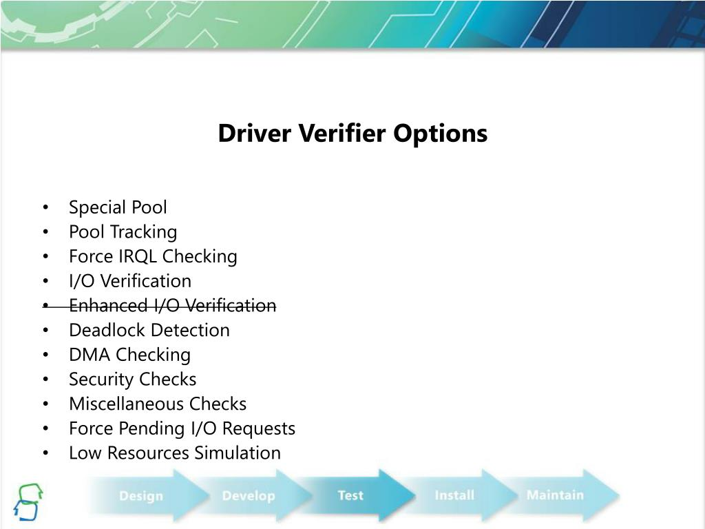 Driver Verifier Options