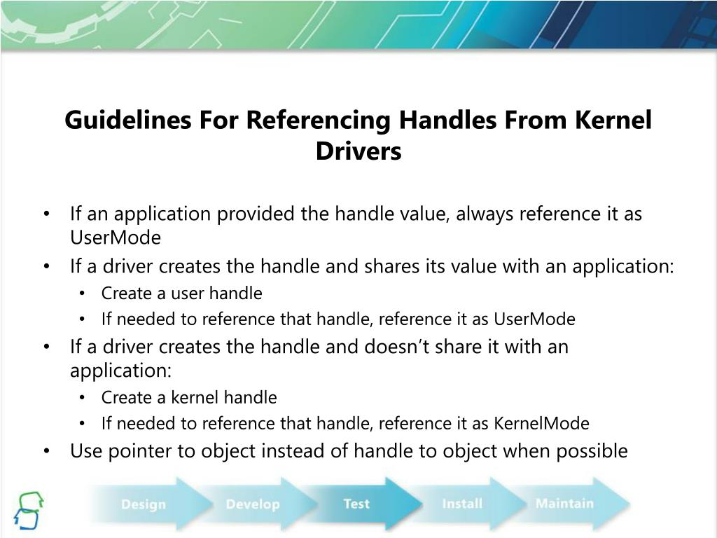 Guidelines For Referencing Handles From Kernel Drivers