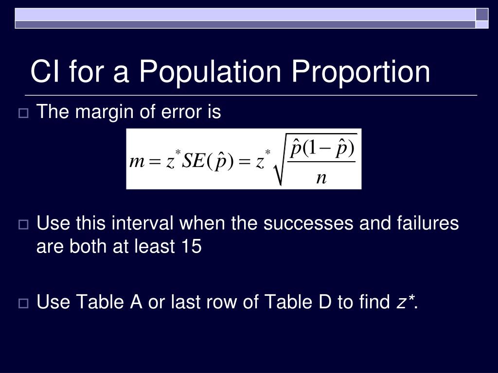 CI for a Population Proportion