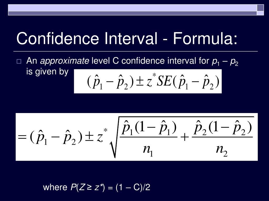 Confidence Interval - Formula: