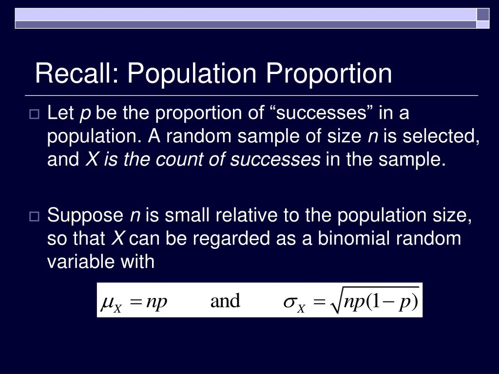 Recall: Population Proportion