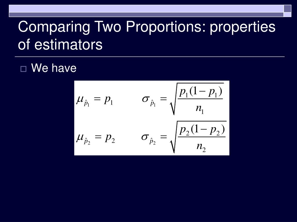 Comparing Two Proportions: properties of estimators