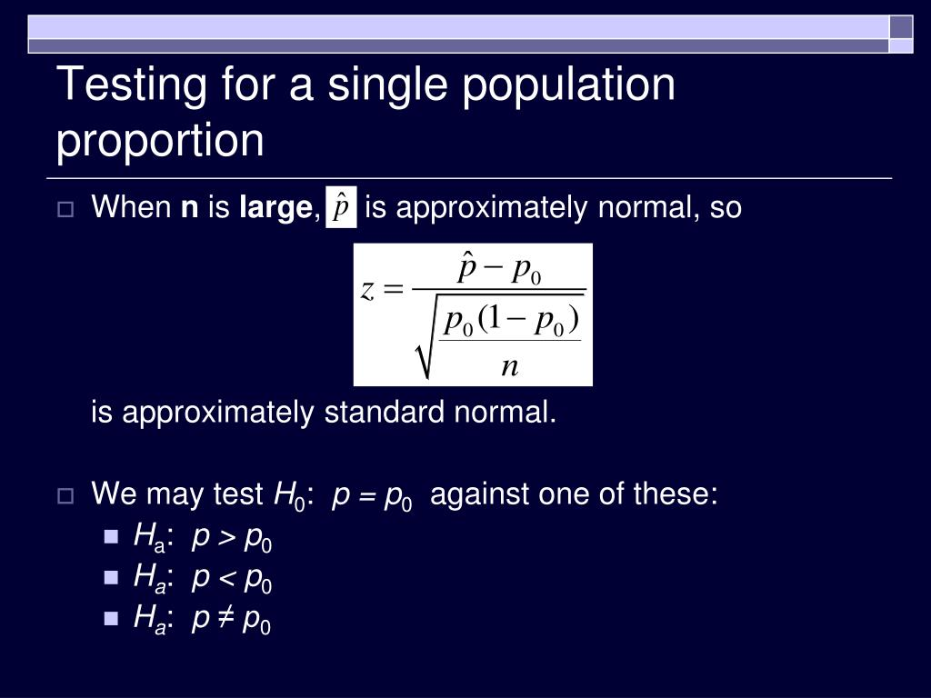 Testing for a single population proportion