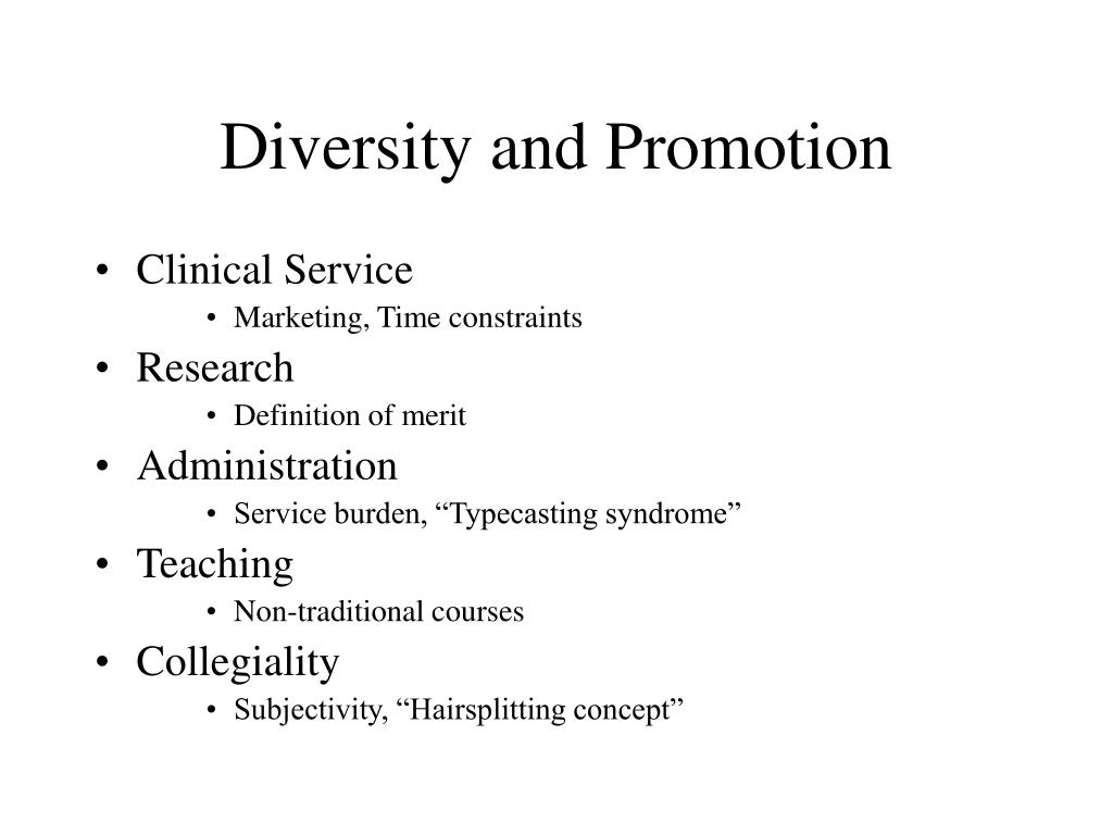 Diversity and Promotion