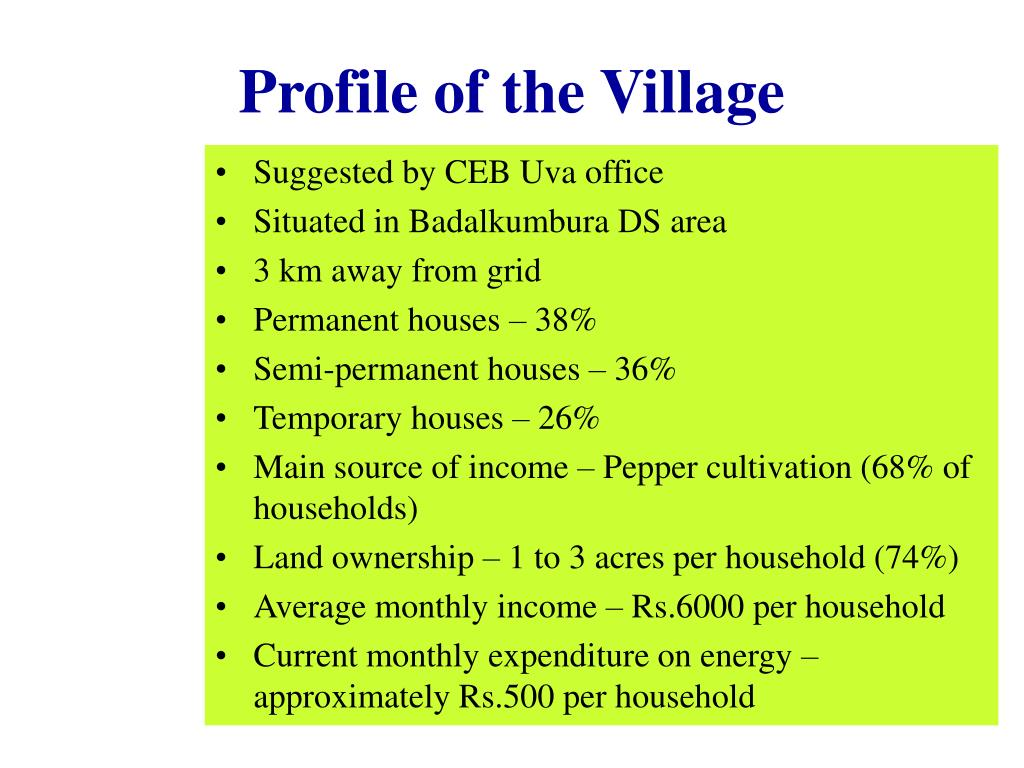 Profile of the Village
