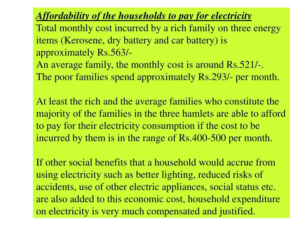 Affordability of the households to pay for electricity