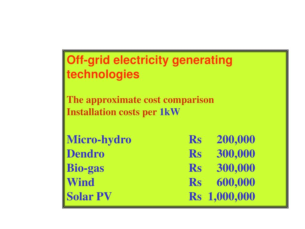 Off-grid electricity generating technologies