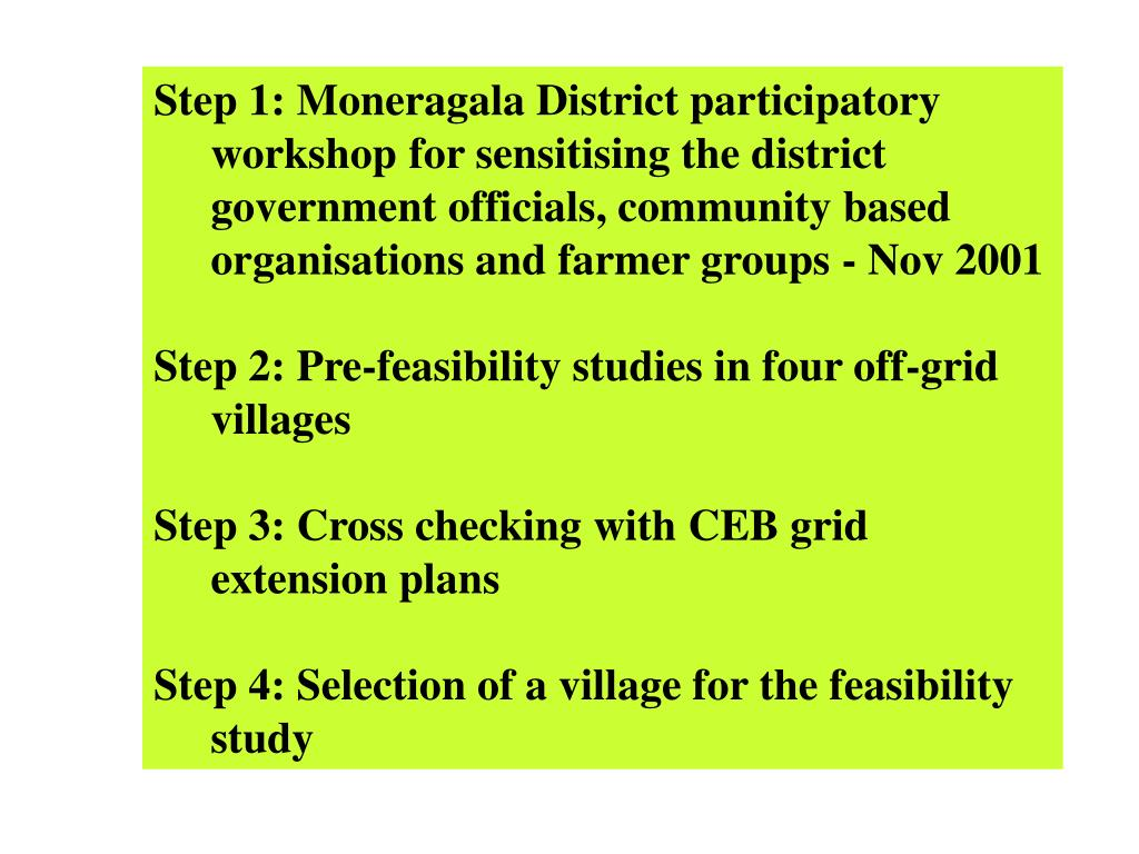 Step 1: Moneragala District participatory workshop for sensitising the district government officials, community based organisations and farmer groups - Nov 2001