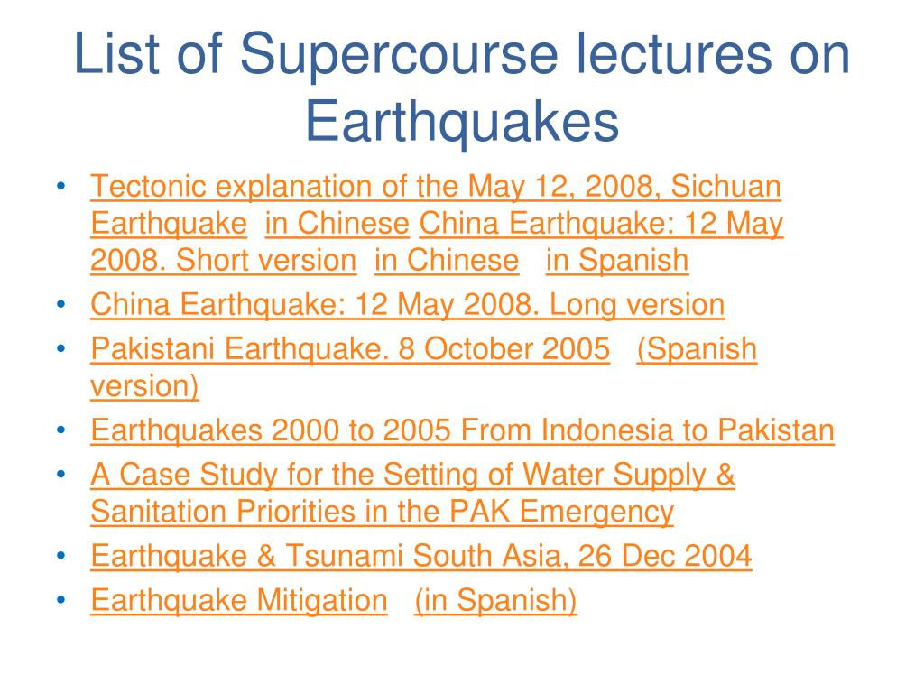 List of Supercourse lectures on Earthquakes