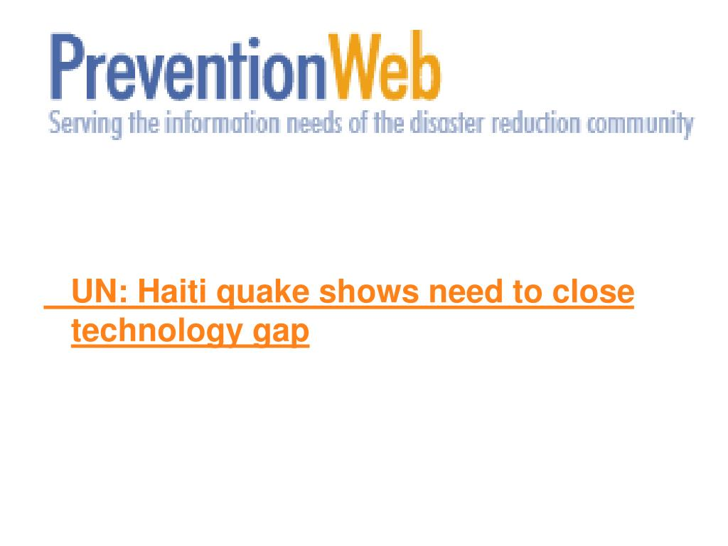 UN: Haiti quake shows need to close technology gap