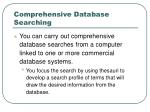 comprehensive database searching