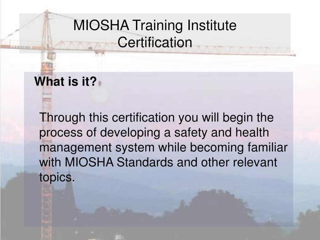 MIOSHA Training Institute