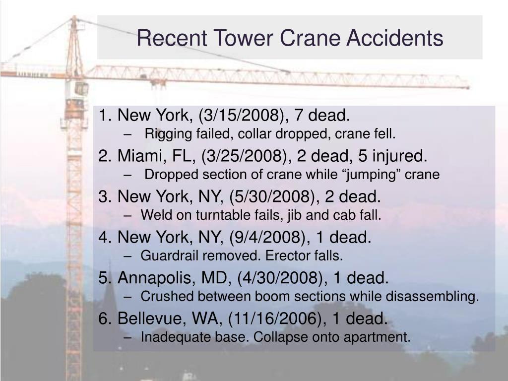 Recent Tower Crane Accidents