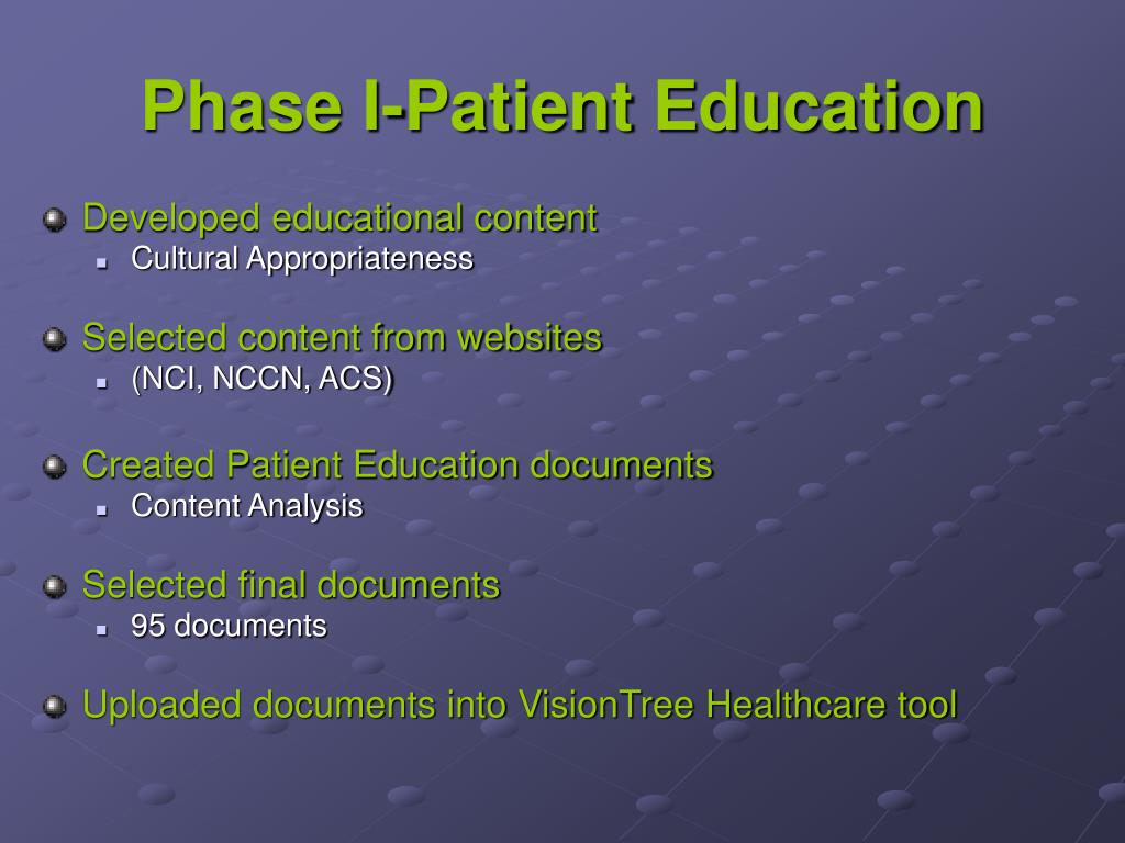 Phase I-Patient Education