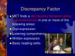 discrepancy factor
