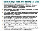 summary mol modeling che