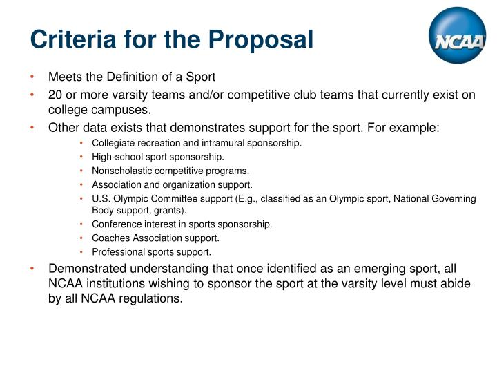 Criteria for the Proposal
